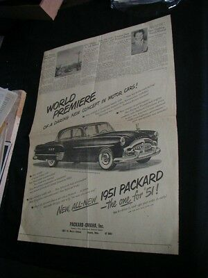 vintage 1950 newspaper ad packard shows 1951 car advertisment clipping