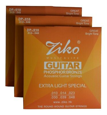 3 PACKS Ziko Acoustic Guitar Strings - Gauges 10, 11 or 12 Phosphor Bronze