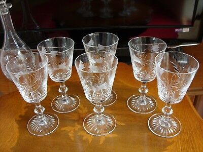 Royal Scot flower of Scotland 6 Crystal Wine Glasses