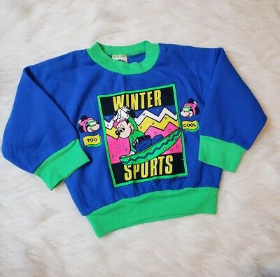 Vintage Disney By Jog Togs Neon Sweatshirt Made In USA Toddlee Size 2