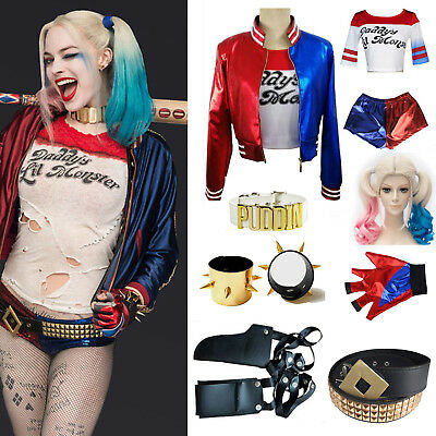 Damen Cosplay Fancy Kostüm Suicide Squad Harley Quinn Party Jacke Mantel T-shirt