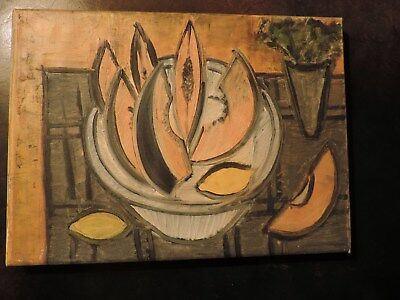 modern CUBIST Still life oil on canvas very nice 30 cm x 22 cm aprox. UNSIGNED