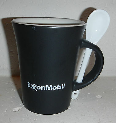 Exxon Mobil Oil Gas Logo Coffee Tea Agave Ceramic 10oz Mug Cup with Spoon