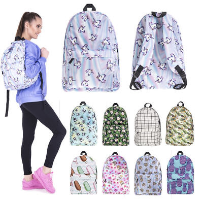 Girls Backpack Unicorn Emoji Rainbow Rucksack School Student Travel Bag Nice 3D