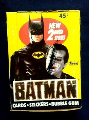 Vintage 1989 Topps Batman 2nd Series Trading Cards Box ~ 36 Unopened Wax Packs