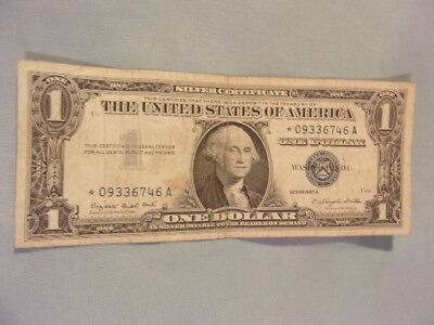 1957-A $1 SILVER CERTIFICATE STAR NOTE, Serial # *09336746A, Circulated