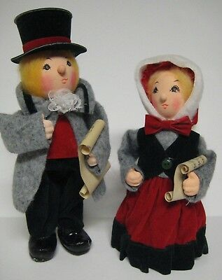 "Vintage Lot Paper Mache Felt Singing Caroler Figures 8"" - 9.5"" Christmas Trim"