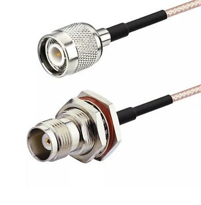 TNC Male to TNC Female Bulkhead Mount Coax Pigtail Cable RG316 24 Inch USA