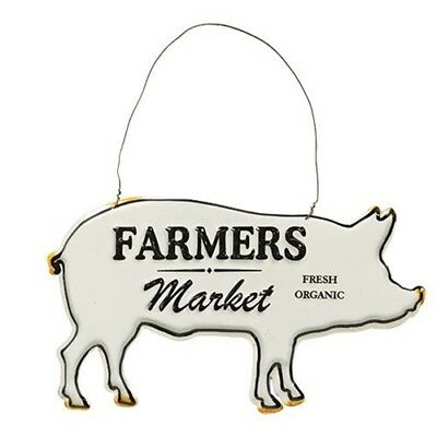 Farmers Market Pig Ornament~ Distressed Embossed metal Farmhouse