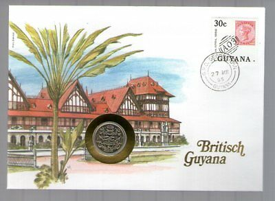 British Guyana 25 Cents  .G.  Unc  (A 2018)  Proff + Stamp + Letter  Numisletter