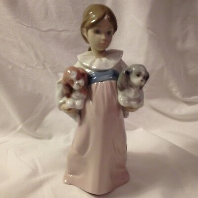 """Lladro - """"arms Full Of Love"""" #6419 - Little Girl Holding Two Puppies  Mint"""