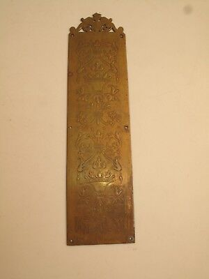 Antique Ornate Brass Push Plate For Door Swinging Saloon Victorian Floral Tulips