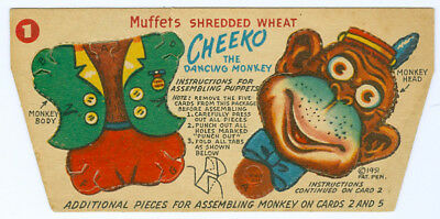 1951 Cheeko Dancing Monkey Muffets Cereal Shredded Wheat Punch Out Adv Card #1