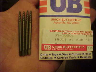 4 New Union Butterfield #1 Screw Extractor Easy Out Lot Spiral Flute USA