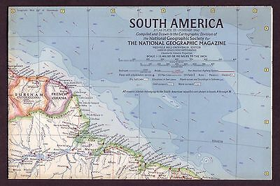 1960s Original Old Vintage Paper Wall Map South America