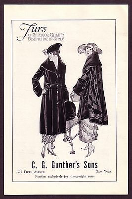 1910s Antique Gunther's Fur Coat NY Clothing Fashion Art Print Ad