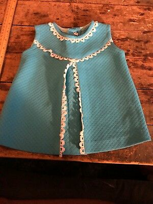 Vintage Blue Baby Girl's Romper Dress Lined With Crochet Unique Fabric Handmade