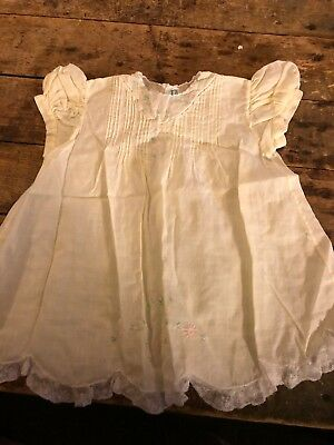 Vintage Yellow Baby Embroidered Dress Lined w Lace Lt Fabric Philippines Handmad