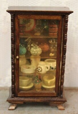 M13 Vintage Fancy Wooden Curio Cabinet With Dishes Dollhouse Miniature