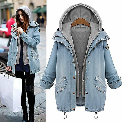 2Pcs Women Overcoat Hooded Denim Trench Coat Jacket Hoodie Parka Vest Outwear US