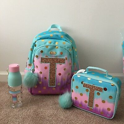 43cfe13a3fe5 JUSTICE OMBRE FOIL Dot Backpack Initial T + Lunch Box + Water Bottle ...