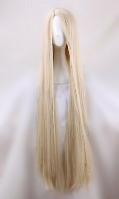 120cm Long Tangled Rapunzel Eruda Chobits Extra Straight Blonde Cosplay Wig