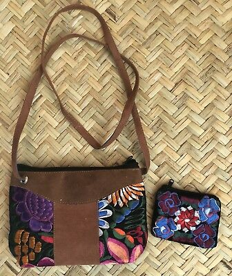 Mexican Embroidered Handmade Purse shoulder bag. Huichol Art Oaxaca Mexico.