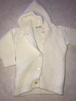 Vintage Infant Baby or Doll White Cardigan Sweater Tagged A Fay Feature