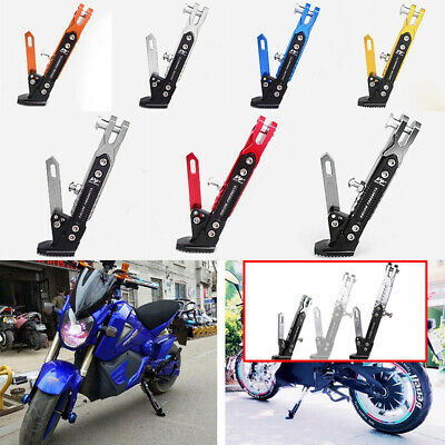 1x Motorcycle CNC Aluminum Alloy Adjustable Side Stand Holder Fall Protect