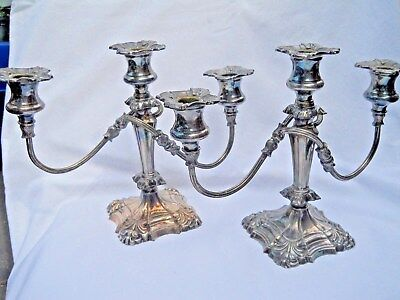 Vintage Coronet Candlestick Holder E.P. Lead Candleabra Silver Plate Pair