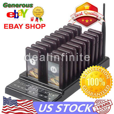 US 20 Restaurant Coaster Pager Guest Call Wireless Paging Queuing Calling System