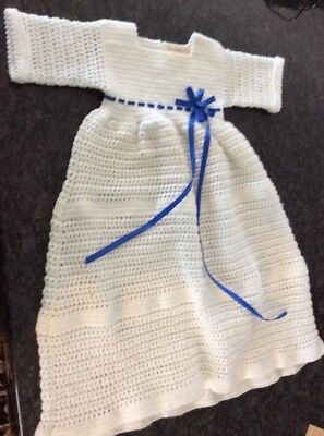 Vintage Baby Gown Dress Hand Crocheted Christening White Blue Bow