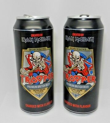 2 Iron Maiden Eddie The Trooper Robinsons British UK Beer Cheshire England Cans