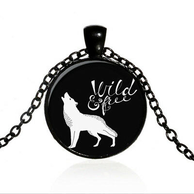 Vintage Wild & Free Wolf Black Dome glass Photo Art Chain Pendant Necklace