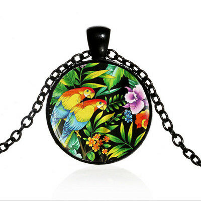 Vintage Tropical Parrot Black Dome glass Photo Art Chain Pendant Necklace