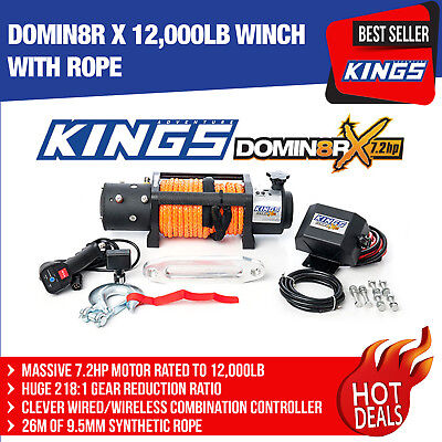 4WD Electric Rope Winch Wireless & Wired Remote Kings 12000lb Domin8r X