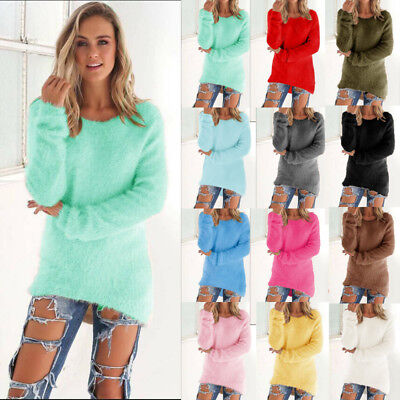 UK Womens Fluffy Warm Chunky Knitted Blouse Baggy Sweater Jumper Tops Outwear