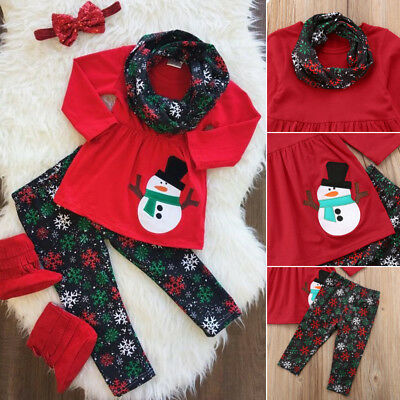3pcs Kids Baby Girl Christmas Snowman Clothes Romper Dress+Pants Outfit US Stock