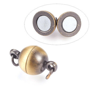 10 Sets Brass Ball Magnetic Clasps Smooth Closure Brushed Antique Bronze 14x8mm