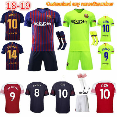 18-19 Football Outfit Home/Away Jersey Strip Soccer Shorts Shirt Kids Boys+Socks
