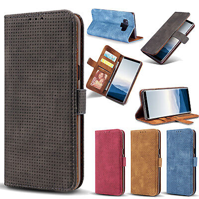 Retro Mesh Style Frosted Leather Case Wallet Card Slot Flip Cover For Lot Phones