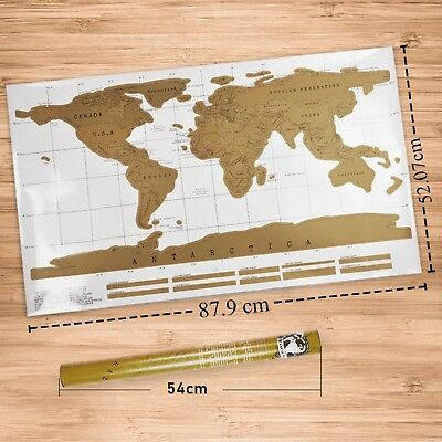 Big Scratch Off World Map Deluxe Edition Travel Log Journal Poster Wall Decor