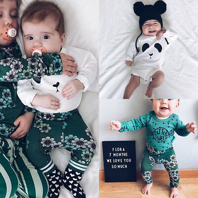 Newborn Baby Boy Girl Long Sleeve Tops Romper Flower Pants 2Pcs Outfits Clothes