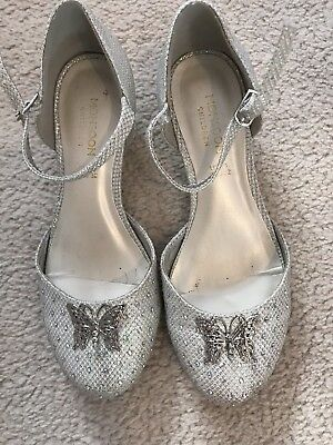 Girls Size 14 Monsoon Silverbutterfly Heel Shoes