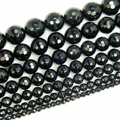 Faceted 4mm 6mm 8mm 10mm 12mm Black Agate Onyx Gemstone Round Loose Beads 15''