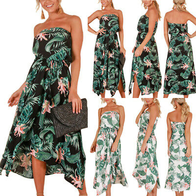AU Women Summer Strapless Bandeau Floral Midi Dress Holiday Beach Party Sundress