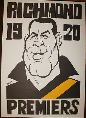 1920 Richmond Premiers Weg poster Vic Thorpe caricature Tigers Premiership