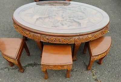 Antique Asian hand-carved low coffee tea table with glass top and with stools