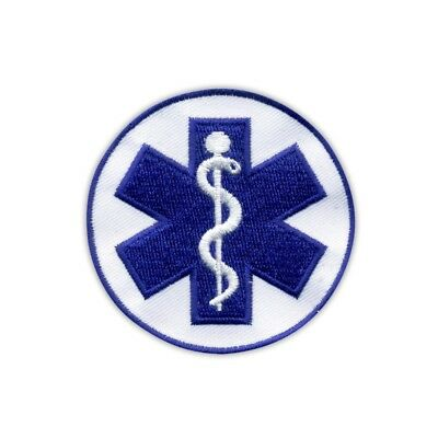 "Star of life - small 2.6"" - Paramedic Cross blue Embroidered PATCH/BADGE"