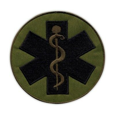 "Star of life - big 3.5"" - Paramedic Cross olive, subdued Embroidered PATCH/BADGE"